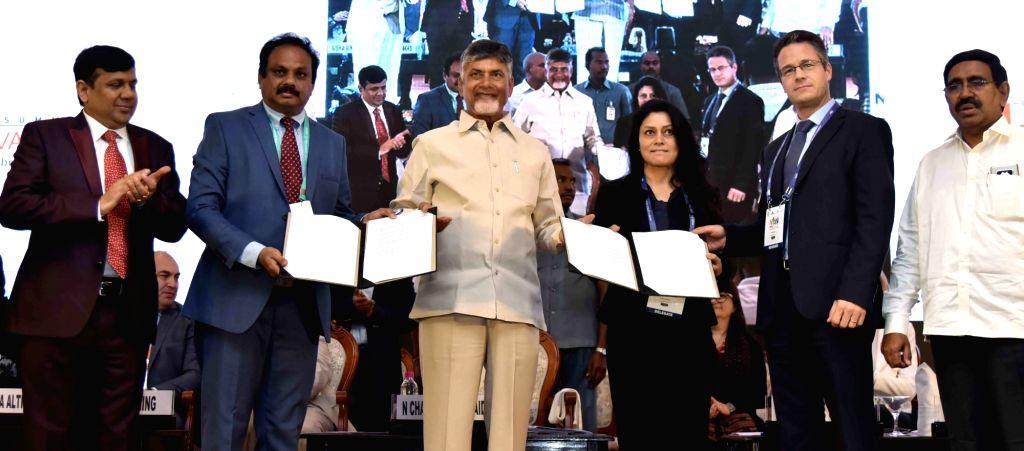"Andhra Pradesh Chief Minister N. Chandrababu Naidu at the inauguration of ""Happy Cities Summit 2019"" in Amaravathi on Feb 13, 2019. - N. Chandrababu Naidu"