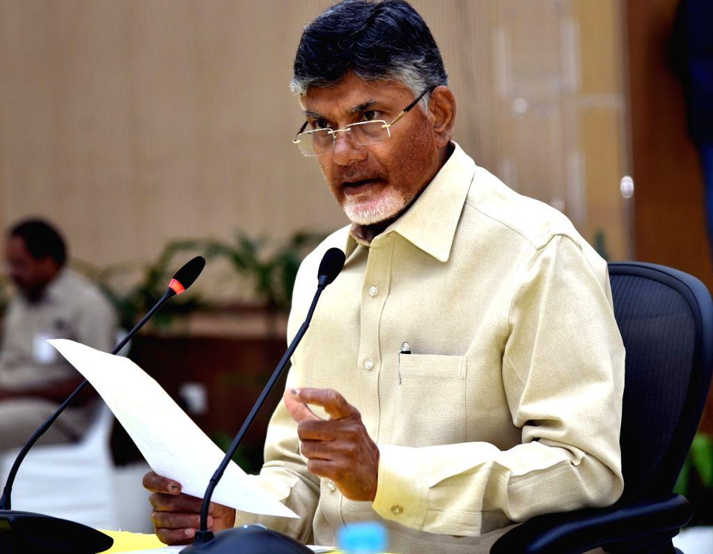 Andhra Pradesh Chief Minister N. Chandrababu Naidu addresses a press conference, in Vijayawada, on May 5, 2019. - N. Chandrababu Naidu