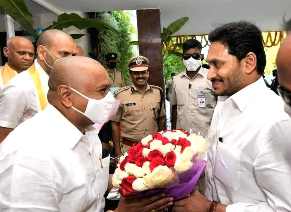 Andhra Pradesh Chief Minister Y.S. Jagan Mohan Reddy participates in the Brahmotsavams where he presented silk raiment to the presiding deity of Lord Venkateshwara Swamy, at the Tirupati ... - Y.