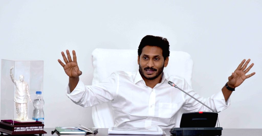 Andhra Pradesh Chief Minister Y. S. Jagan Mohan Reddy addresses at a review meeting of the Irrigation department, at Tadepalli in Guntur district of Andhra Pradesh, on June 6, 2019. - Y. S. Jagan Mohan Reddy