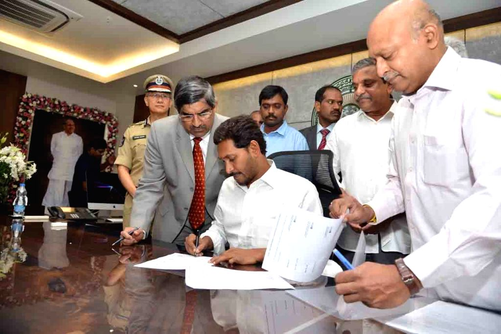 Andhra Pradesh Chief Minister Y.S. Jagan Mohan Reddy occupies office in the State Secretariat in Amaravati, on June 8, 2019. Jagan, as the Chief Minister is popularly known, had been ... - Y.