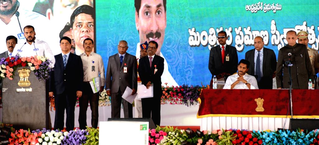 Andhra Pradesh Chief Minister Y.S. Jagan Mohan Reddy during the swearing-in ceremony of his 25-member cabinet, in Amaravati on June 8, 2019. - Y.
