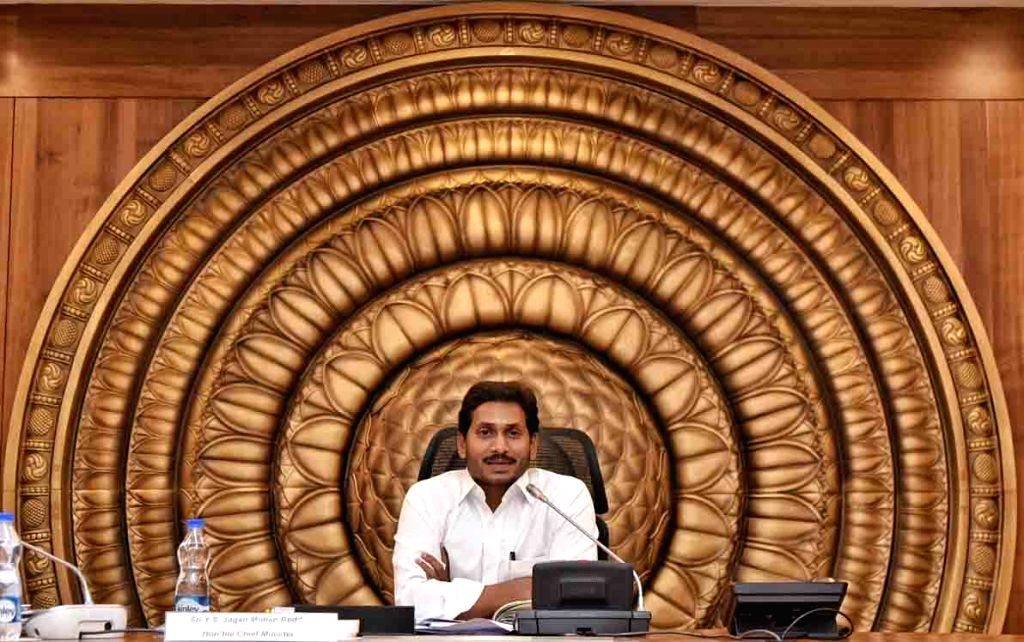 Andhra Pradesh Chief Minister Y.S. Jagan Mohan Reddy chairs the first meeting of the new state cabinet at the state Secretariat in Amaravati, on June 10, 2019. - Y.