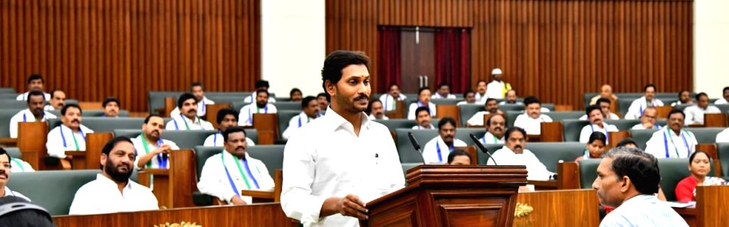 Andhra Pradesh Chief Minister Y.S. Jagan Mohan Reddy addresses during the the first session of the new State Assembly, in Amaravati on June 12, 2019. - Y.
