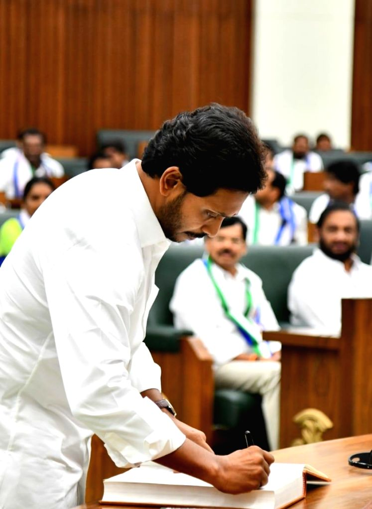 Andhra Pradesh Chief Minister Y.S. Jagan Mohan Reddy during the the first session of new State Assembly, in Amaravati on June 12, 2019. - Y.