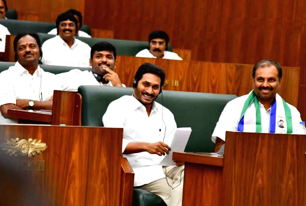 Andhra Pradesh Chief Minister Y.S. Jagan Mohan Reddy on the second day of the first session of the new state Assembly, in Amaravati on June 13, 2019. - Y.