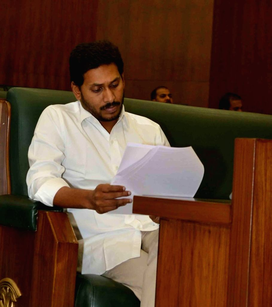Andhra Pradesh Chief Minister Y.S. Jagan Mohan Reddy during the third day of the first session of the new state Assembly, in Amaravati on June 14, 2019. - Y.