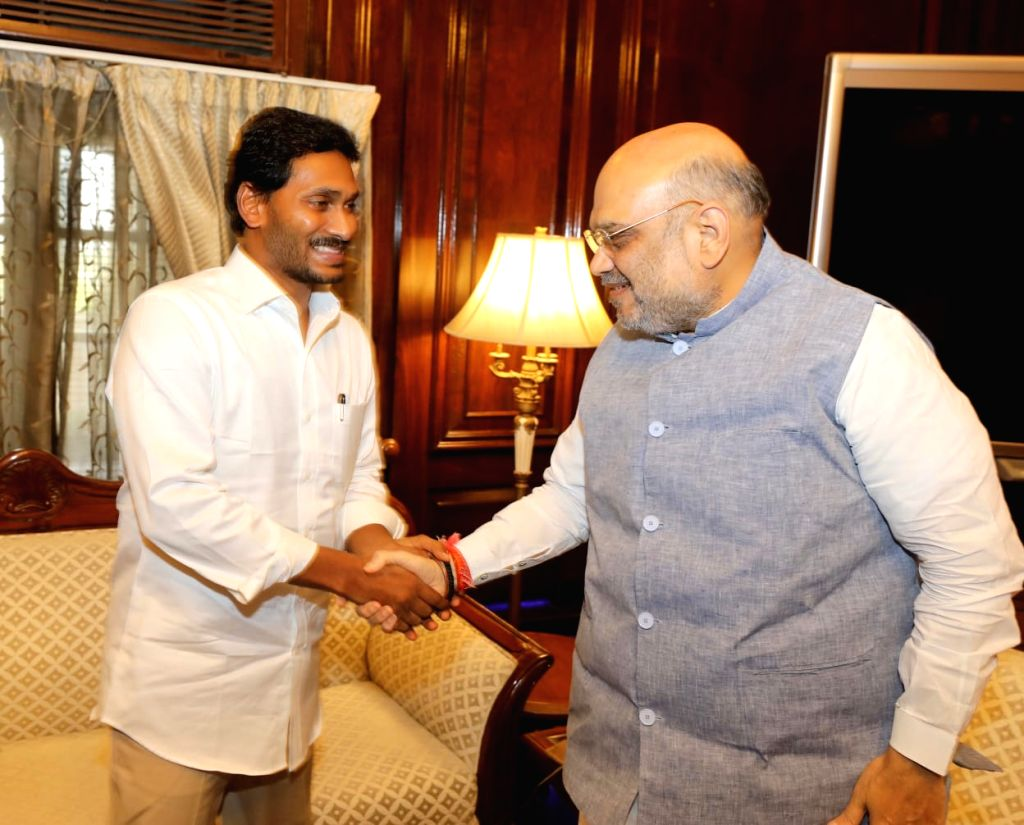 Andhra Pradesh Chief Minister Y.S. Jagan Mohan Reddy meets Union Home Minister Amit Shah, in New Delhi on June 14, 2019. - Y. and Amit Shah
