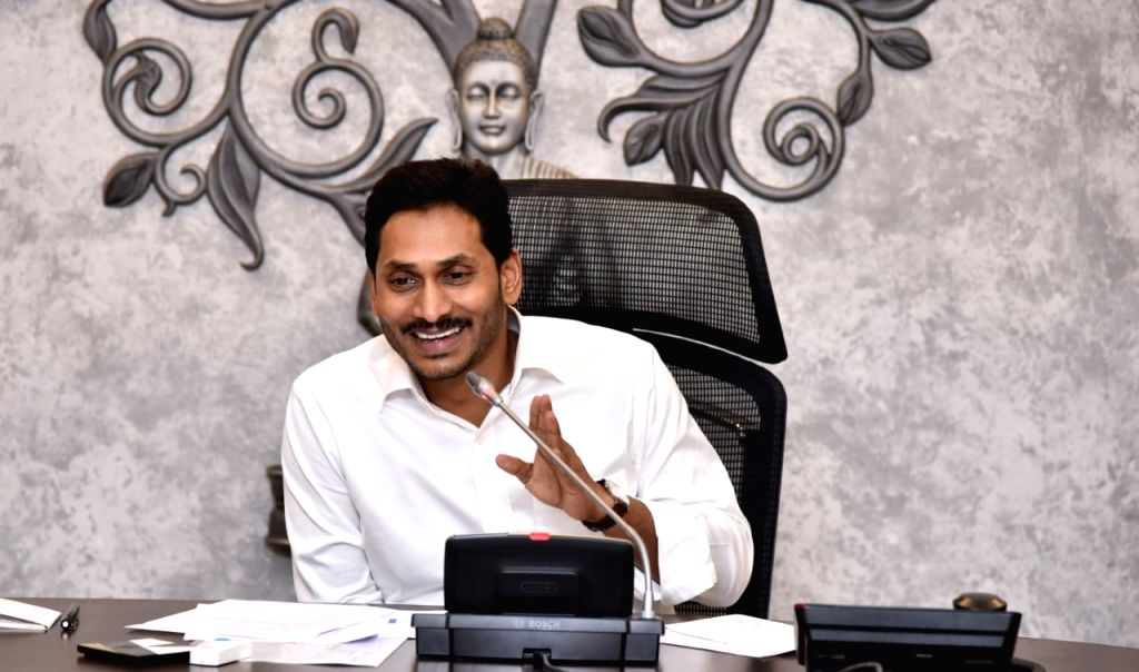 Andhra Pradesh Chief Minister Y.S. Jagan Mohan Reddy conducts video conferencing with District Collectors and SPs to review Spandana program at the state secretariat in Amaravati on Aug ... - Y.