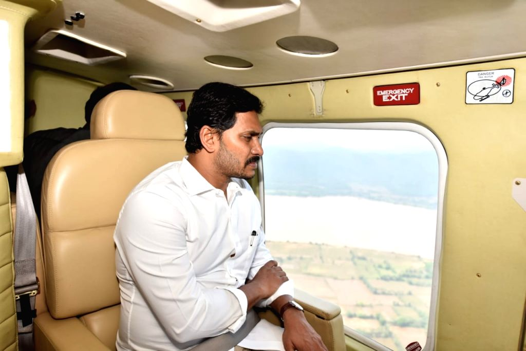 Andhra Pradesh Chief Minister Y. S. Jagan Mohan Reddy conducts an aerial survey of Sunday's boat accident site in Godavari river, on Sep 16, 2019.The Chief Minister flew in a helicopter ... - Y. S. Jagan Mohan Reddy
