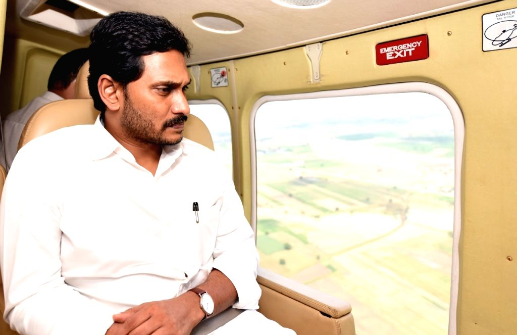 Andhra Pradesh Chief Minister Y.S. Jagan Mohan Reddy conducts aerial survey of the flood-affected areas of Kurnool district on Sep 21, 2019. - Y.