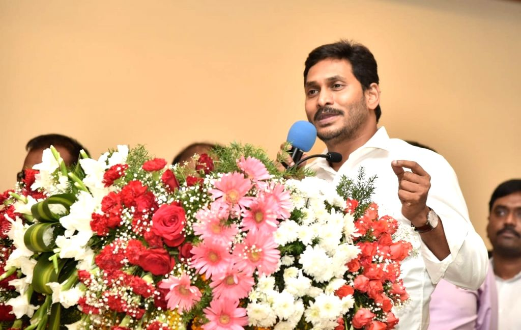Andhra Pradesh Chief Minister Y.S. Jagan Mohan Reddy addresses during a programme where he handed over the appointment orders to the selected candidates for the posts in village and ward ... - Y.