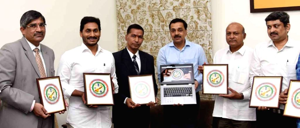 Andhra Pradesh Chief Minister Y.S. Jagan Mohan Reddy at the launch of the official logo and website of Andhra Pradesh Judicial Preview Committee, in Vijayawada on Oct 7, 2019. - Y.