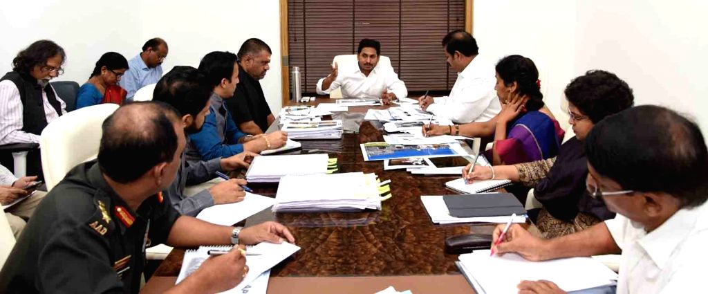 Andhra Pradesh Chief Minister Y.S. Jagan Mohan Reddy presides over a review meeting with the officials of Youth Development, Tourism and Culture Departments, in Vijayawada on Oct 11, 2019. - Y.