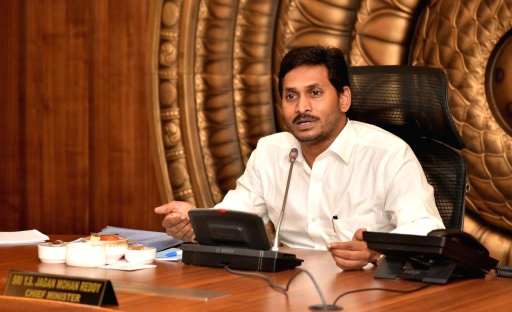 Andhra Pradesh Chief Minister Y.S. Jagan Mohan Reddy presides over a cabinet meeting in Vijayawada, on Oct 16, 2019. - Y.