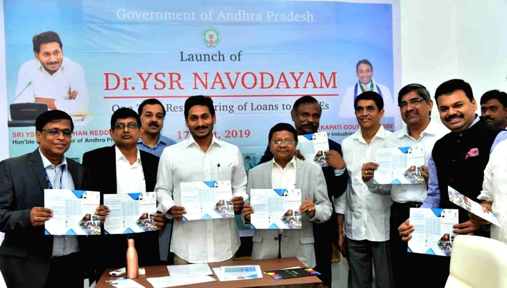 Andhra Pradesh Chief Minister Y. S. Jagan Mohan Reddy at the launch of 'YSR Navodaya' telecommunication scheme, in Vijayawada on Oct 17, 2019. - Y. S. Jagan Mohan Reddy