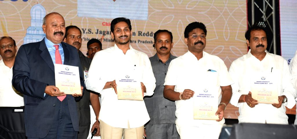 Andhra Pradesh Chief Minister Y.S. Jagan Mohan Reddy at Andhra University Annual Alumni Meet 2019, in Vijayawada on Dec 13, 2019. - Y.