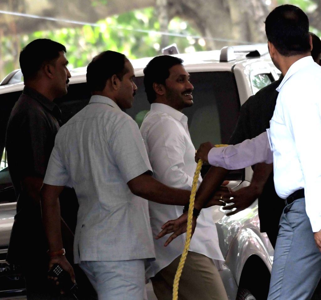 Andhra Pradesh Chief Minister Y.S. Jagan Mohan Reddy arrives to appear before a CBI special court in the disproportionate assets case, in Hyderabad on Jan 10, 2020. - Y.