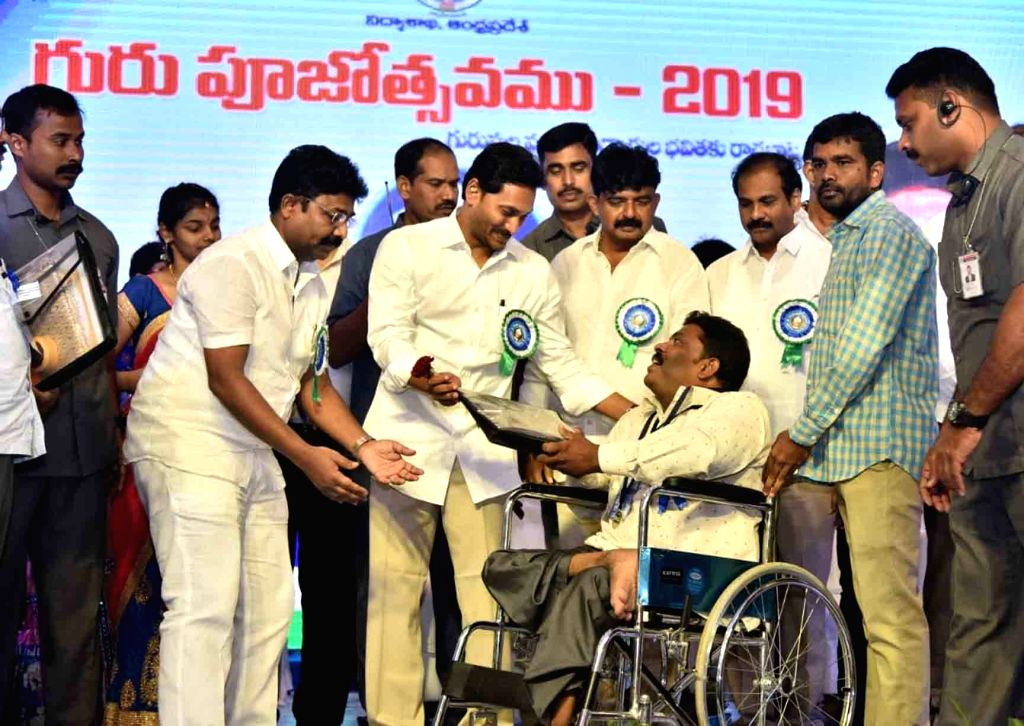 Andhra Pradesh Chief Minister Y. S. Jaganmohan Reddy pays tributes to Former President of India Sarvepalli Radhakrishnan on his birth anniversary, during a programme to felicitate ... - Y. S. Jaganmohan Reddy