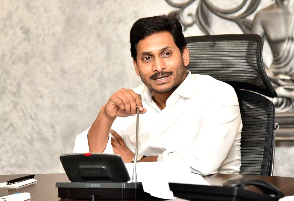 Andhra Pradesh Chief Minister Y.S. Jajan Mohan Reddy presides over a review meeting in Vijayawada, on Oct 18, 2019. - Y.