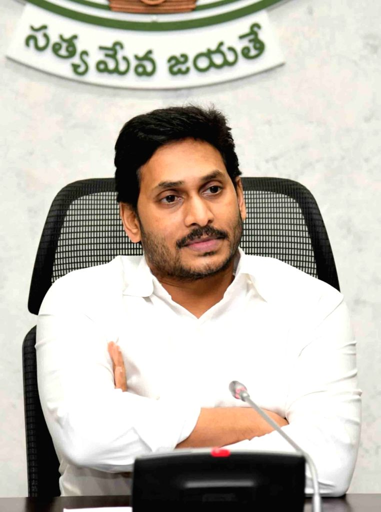 Andhra Pradesh Chief Minister YS Jagan Mohan Reddy chairs a review meeting on irrigation projects at his camp office in Amaravati on June 25, 2020. - Jagan Mohan Reddy
