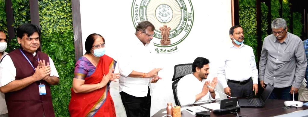 Andhra Pradesh Chief Minister YS Jagan Mohan Reddy launches Andhra Pradesh Corporation for Outsourced Services (APCOS) to ensure transparency in recruiting outsourcing staff, in Tadepalli ... - Jagan Mohan Reddy