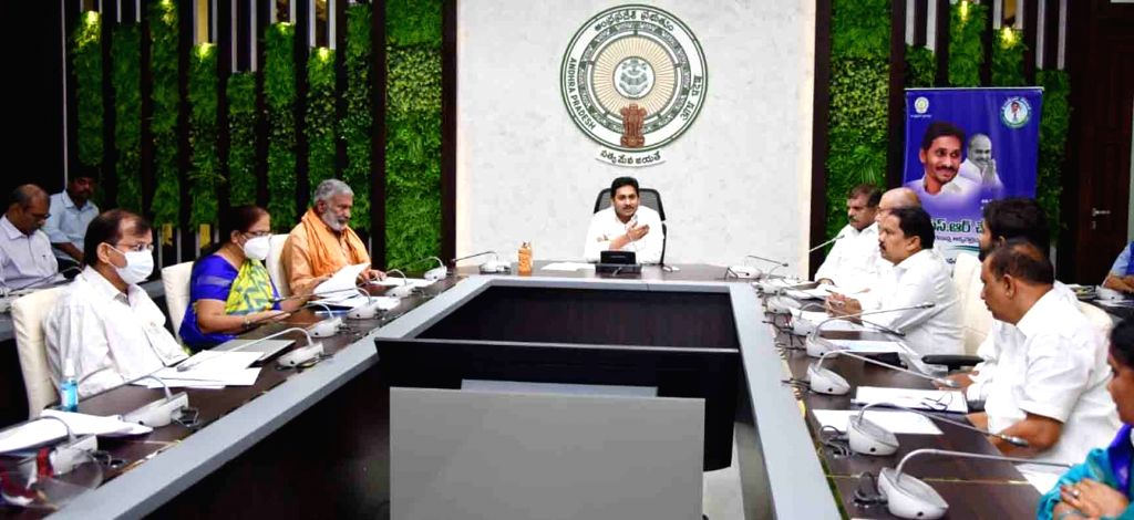 Andhra Pradesh Chief Minister YS Jagan Mohan Reddy presides over a meeting where he launched YSR Cheyutha scheme, in Amravati on Aug 12, 2020. - Jagan Mohan Reddy