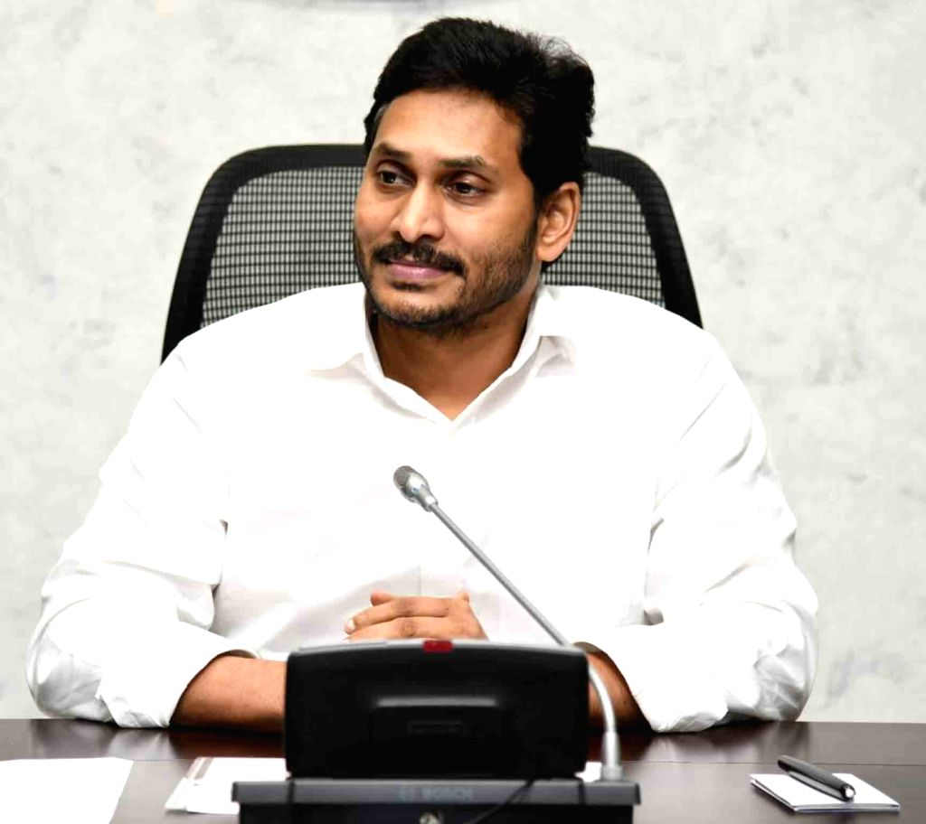 Andhra Pradesh Chief Minister YS Jagan Mohan Reddy chairs a review meeting on comprehensive land survey, in Amaravati on Aug 31, 2020. - Jagan Mohan Reddy