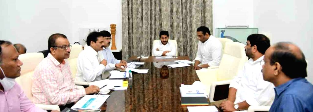 Andhra Pradesh Chief Minister YS Jagan Mohan Reddy chairs a meeting to review the progress of acquiring land for setting up skill development colleges in the state, in Amaravati on Sep 1, ... - Jagan Mohan Reddy