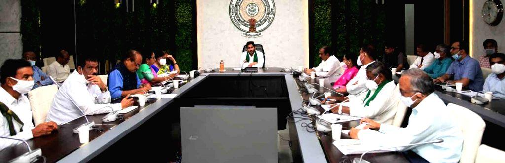 Andhra Pradesh Chief Minister YS Jagan Mohan Reddy disbursed the second installment of YSR Rythu Bharosa-PM Kisan scheme, in Amaravati on Oct 27, 2020. - Jagan Mohan Reddy