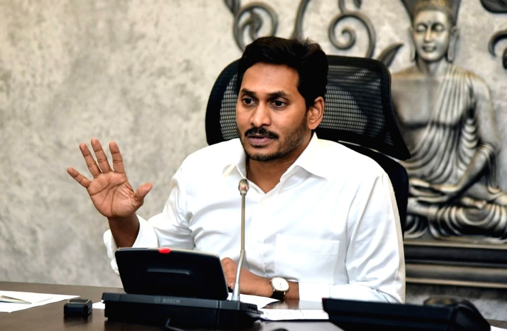 Andhra Pradesh Chief Minister YS Jagan Mohan Reddy addresses during a review meeting in Vijayawada on July 16, 2019. - Jagan Mohan Reddy
