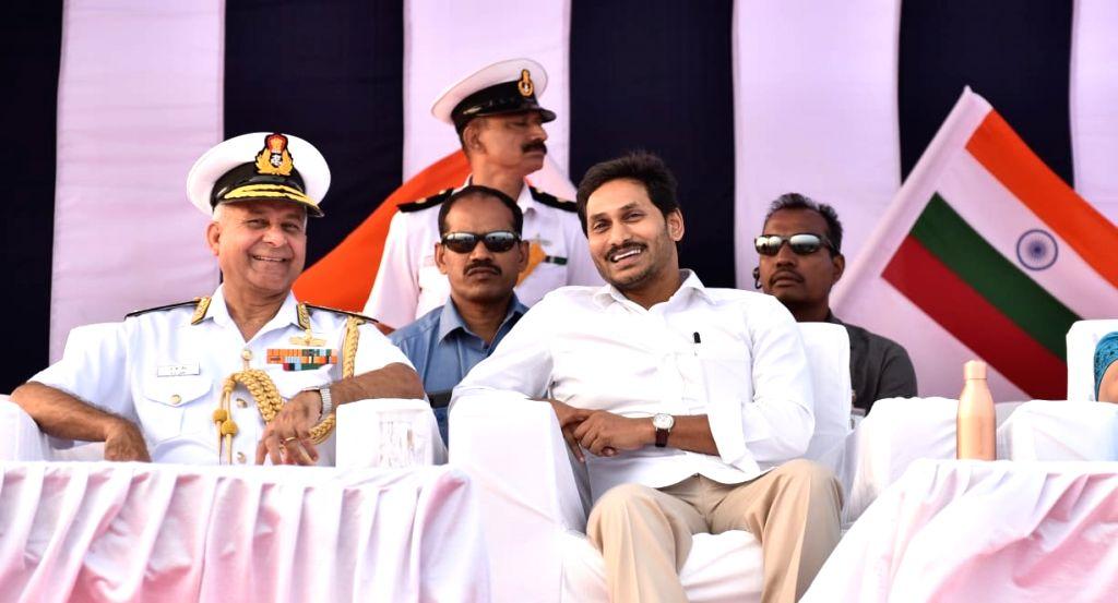 Andhra Pradesh Chief Minister YS Jagan Mohan Reddy attends the Navy Day celebration at RK Beach in Andhra Pradesh's Visakhapatnam on Dec 5, 2019. - Jagan Mohan Reddy