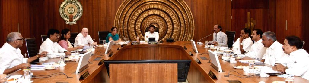Andhra Pradesh Chief Minister YS Jagan Mohan Reddy presides over a Cabinet meeting, in Vijayawada on Jan 27, 2020. - Jagan Mohan Reddy