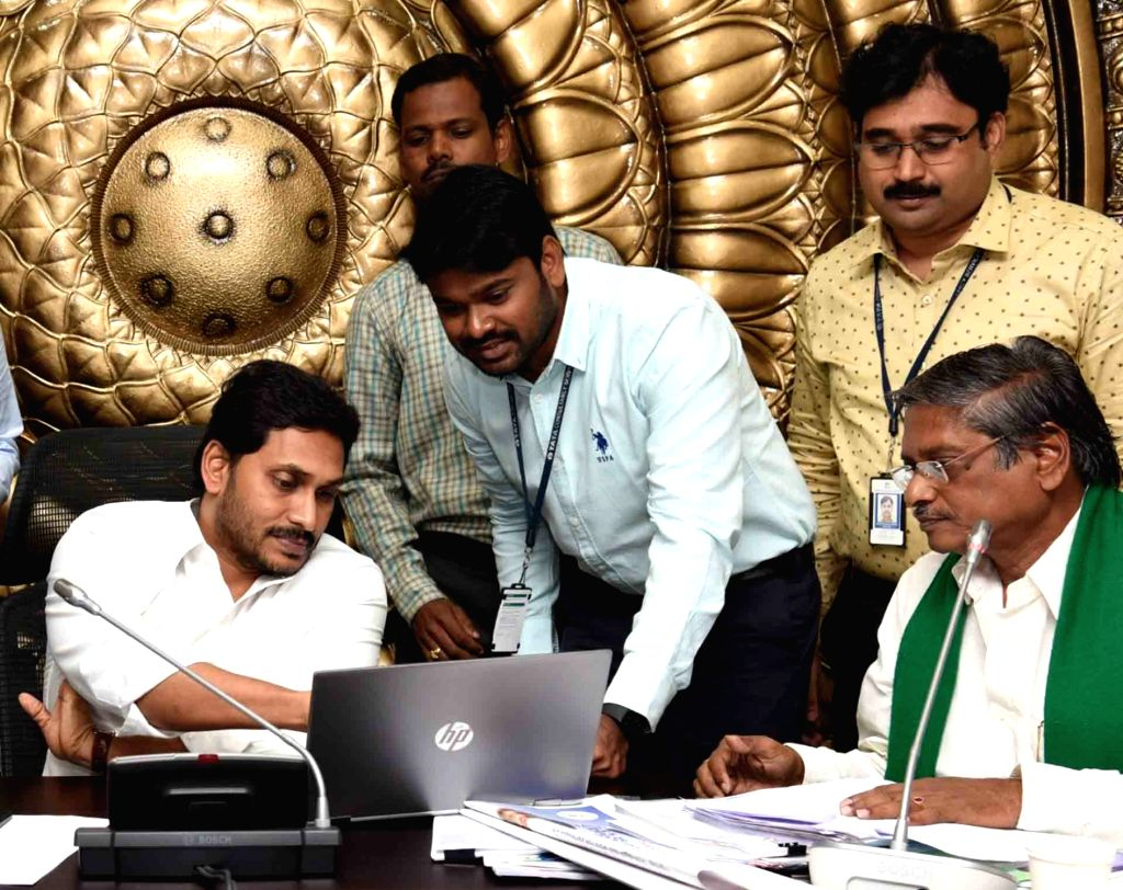 Andhra Pradesh Chief Minister YS Jagan Mohan Reddy presides over a review meeting with the Agriculture Department, in Hyderabad on Feb 6, 2020. - Jagan Mohan Reddy