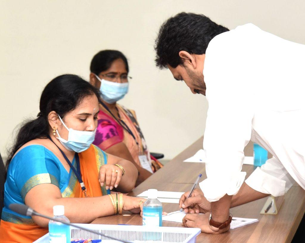 Andhra Pradesh Chief Minister YS Jagan Mohan Reddy cast his vote. - Jagan Mohan Reddy