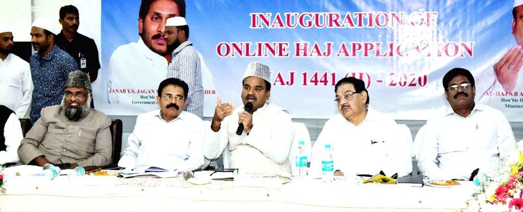 Andhra Pradesh Deputy Chief Minister Amzath Basha Shaik Bepari addresses at the inauguration of 'Online Haj Application', in Hyderabad on Oct 10, 2019. - Amzath Basha Shaik Bepari
