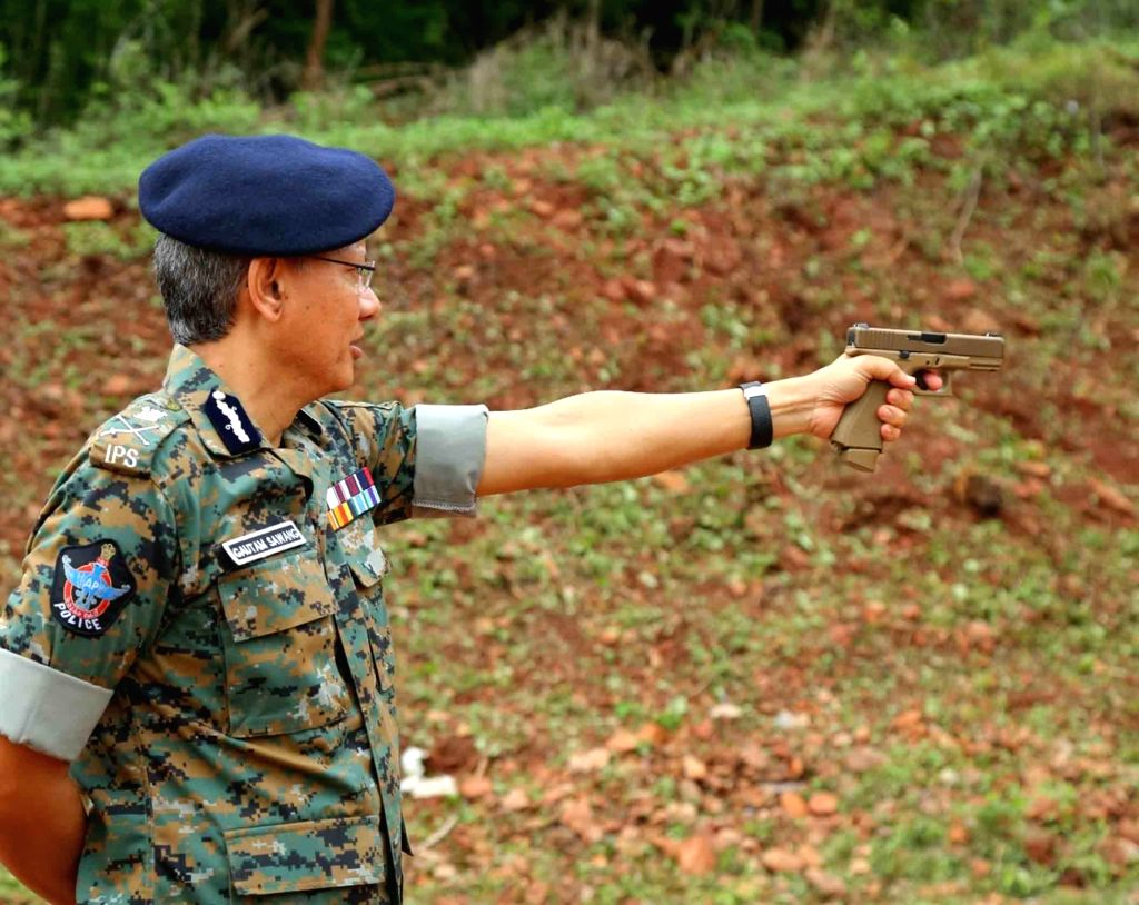 Andhra Pradesh Director General of Police Gautam Sawang during his visit to Mangalagiri 6th Battalion Firing Range at Nulakapeta in Tadepalli on July 11, 2020.