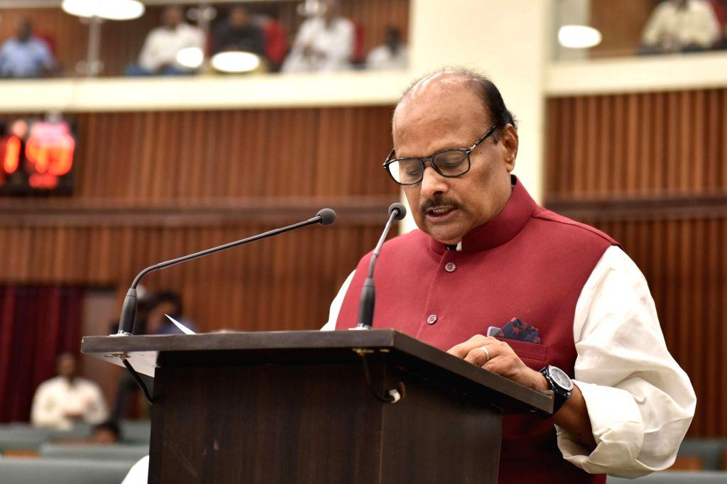 Andhra Pradesh Finance Minister Y. Ramakrishnudu presents the Vote on Account budget at the state assembly, in Vijayawada on Feb 5, 2019. - Y. Ramakrishnudu