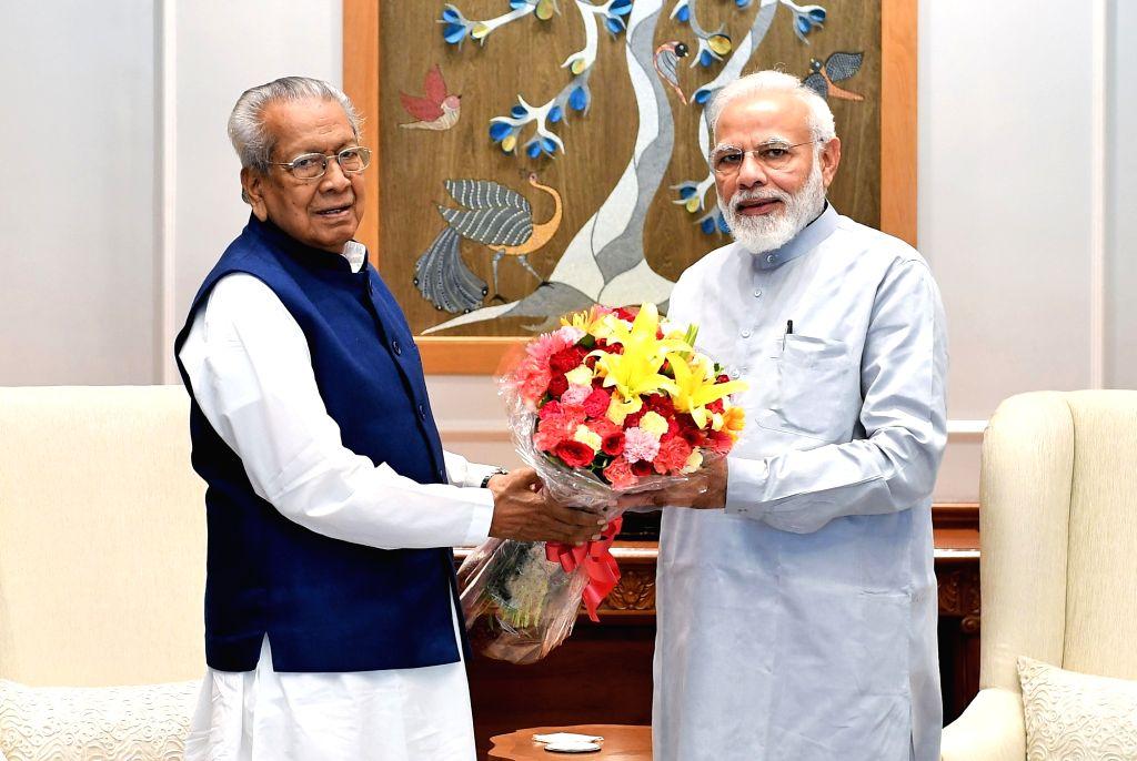 Andhra Pradesh Governor Biswabhusan Harichandan meets Prime Minister Narendra Modi, in New Delhi on Aug 9, 2019. - Narendra Modi