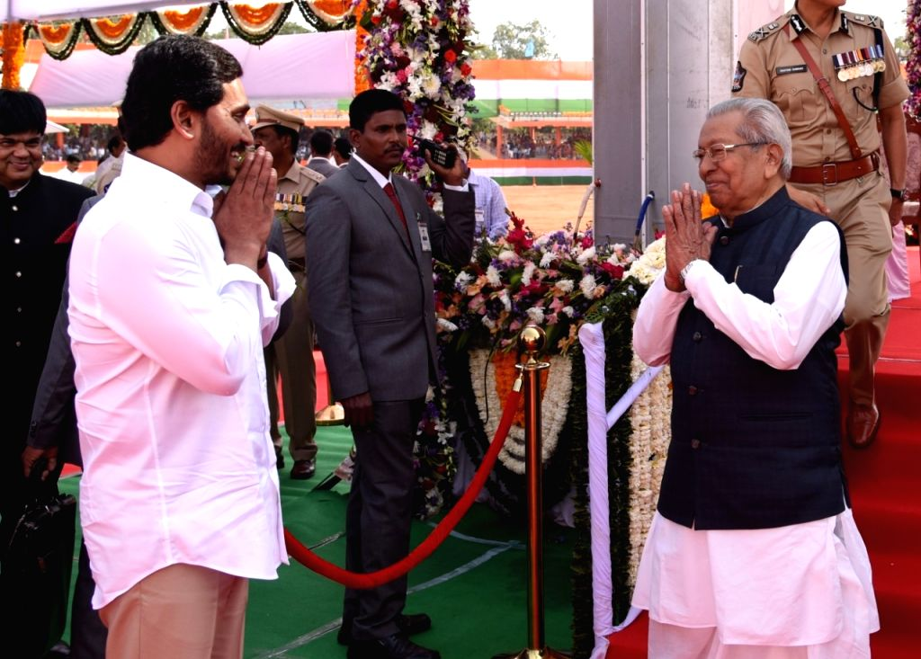 Andhra Pradesh Governor Biswabhusan Harichandan being welcomed by Chief Minister YS Jagan Mohan Reddy during the 71st Republic Day celebrations at the Indira Gandhi Municipal corporation ... - Jagan Mohan Reddy and Indira Gandhi Municipal