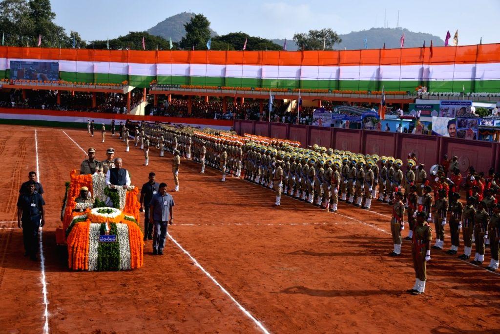 Andhra Pradesh Governor Biswabhusan Harichandan reviews the 71st Republic Day parade at the Indira Gandhi Municipal corporation stadium in Vijayawada on Jan 26, 2020. - Indira Gandhi Municipal