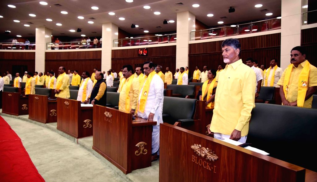 Andhra Pradesh Governor E.S.L. Narasimhan addresses during the joint session of the state Legislative Assembly and Council in Vijayawada, on Jan 30, 2019.
