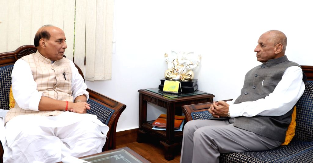 Andhra Pradesh Governor E.S.L. Narasimhan calls on Union Home Minister Rajnath Singh in New Delhi on Sept 16, 2017. - Rajnath Singh