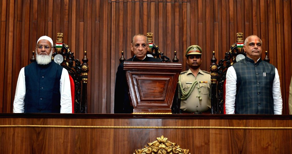 Andhra Pradesh Governor E. S. L. Narasimhan delivers his address on the third day of the first session of the new state Assembly, in Amaravati on June 14, 2019.