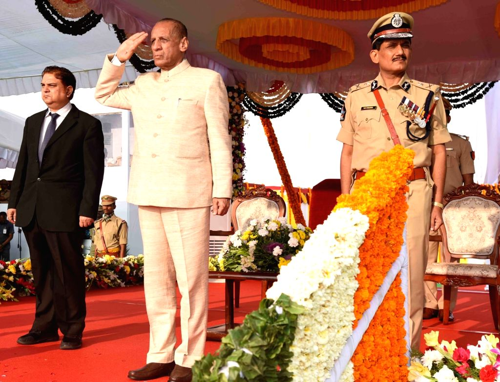 Andhra Pradesh Governor E. S. L. Narasimhan inspects the Gaurd of Honour during the 2019 Republic Day parade at Police Parade Ground in Vijayawada, on Jan 26, 2019.