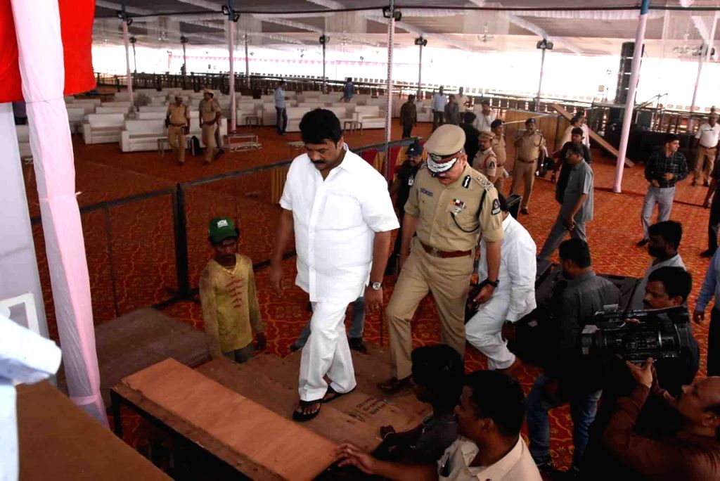 Andhra Pradesh Minister Talasani Srinivas Yadav and Hyderabad Police Commissioner Anjani Kumar review the preparations and arrangements for an iftar party to be hosted by Governor E.S.L. ... - Talasani Srinivas Yadav and K. Chandrasekhar Rao