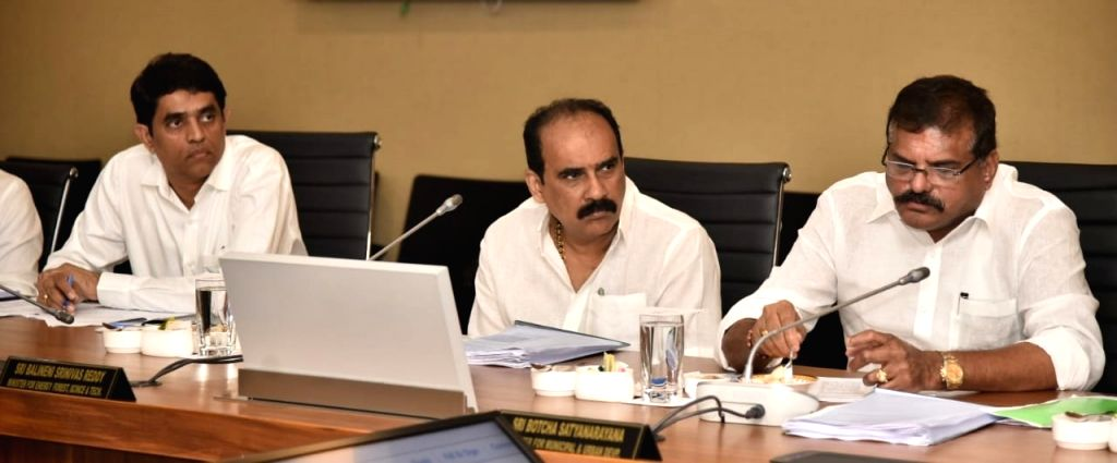 Andhra Pradesh Ministers during a cabinet meeting chaired by Chief Minister Y.S. Jagan Mohan Reddy in Vijayawada, on Oct 16, 2019. - Y.