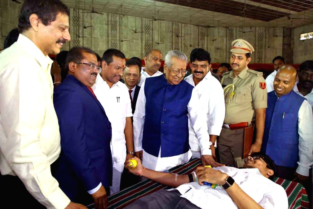 Andhra Pradesh's new Governor Bishwabhushan Harichandan participates in a blood donation programme on his 86th birthday, organised by the Red Cross Society at Loyola College, in ...