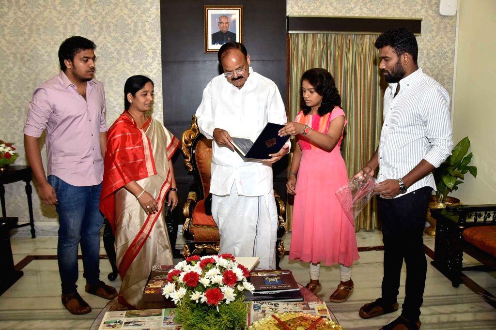 Andhra Prasdesh Cabinet Minister Paritala Sunitha meets Vice President Venkaiah Naidu at Raj Bhavan in Hyderabad on Sept 17, 2017. - Paritala Sunitha and Venkaiah Naidu