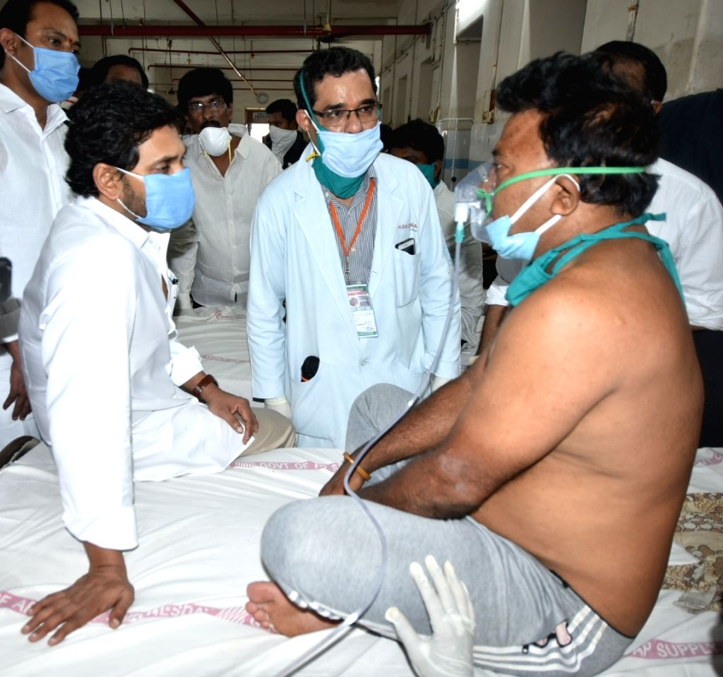 Andhra Prdesh Chief Minister YS Jagan Mohan Reddy meets the victims of the gas leakage at the LG Polymers unit located at RR Venkatapuram near Gopalapatnam in Visakhapatnam, Andhra ... - Jagan Mohan Reddy